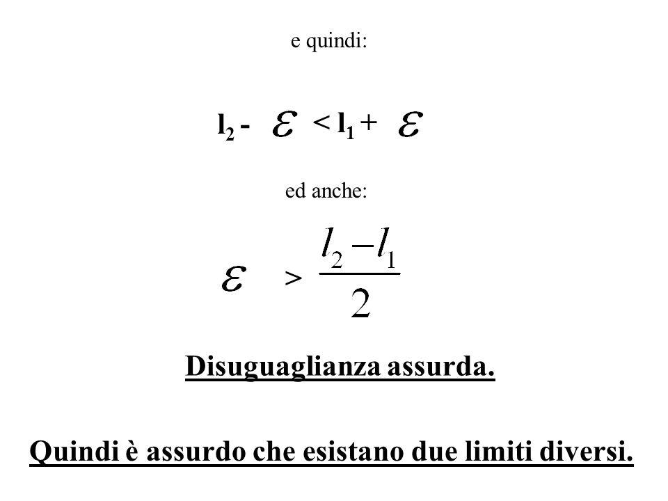 e quindi: l 2 - < l 1 + ed anche: > Disuguaglianza assurda. Quindi è assurdo che esistano due limiti diversi.