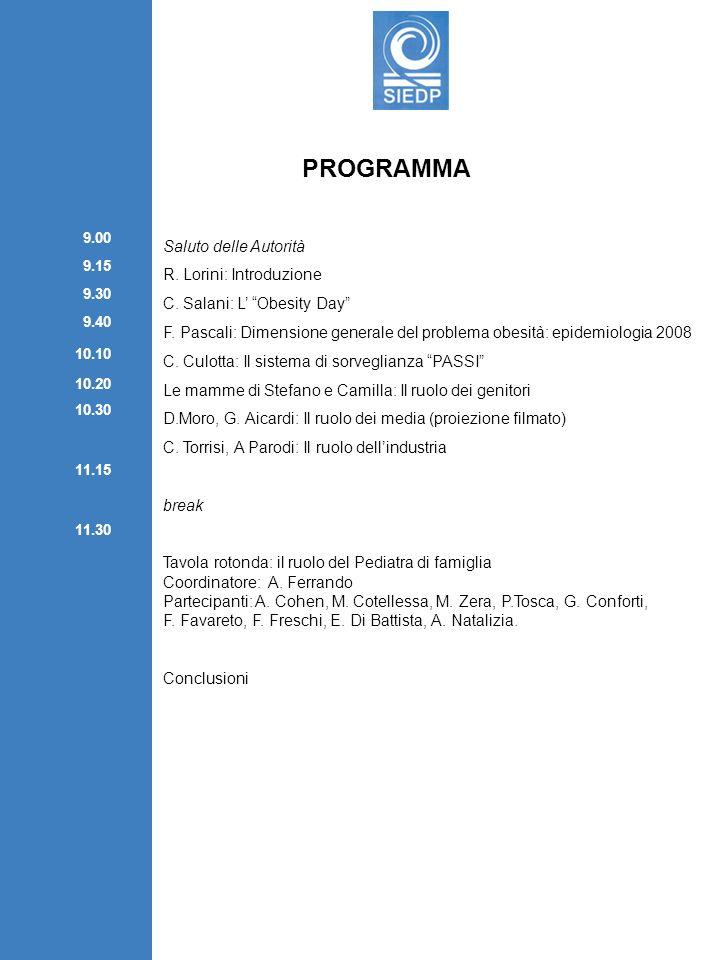 PROGRAMMA Saluto delle Autorità R. Lorini: Introduzione C. Salani: L Obesity Day F. Pascali: Dimensione generale del problema obesità: epidemiologia 2