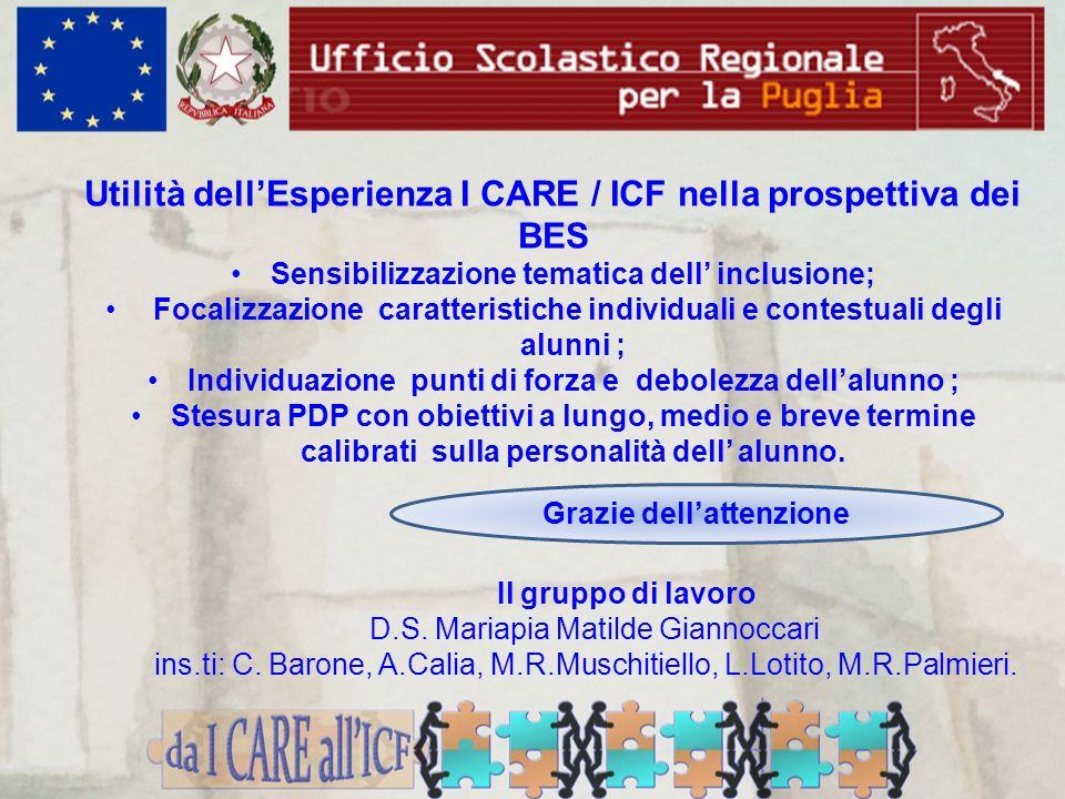 Utilità dellEsperienza I CARE / ICF nella prospettiva dei BES Sensibilizzazione tematica dell inclusione; Focalizzazione caratteristiche individuali e