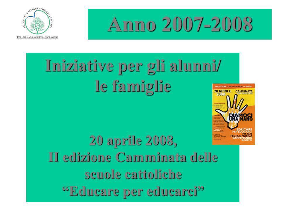 Iniziative per gli alunni/ le famiglie 20 aprile 2008, II edizione Camminata delle scuole cattoliche Educare per educarci Anno 2007-2008
