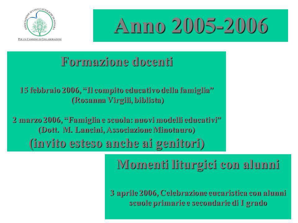 Anno 2006-2007 Formazione docenti 6 ottobre 2006, Dalla lettera pastorale Splendete come astri (Mons.