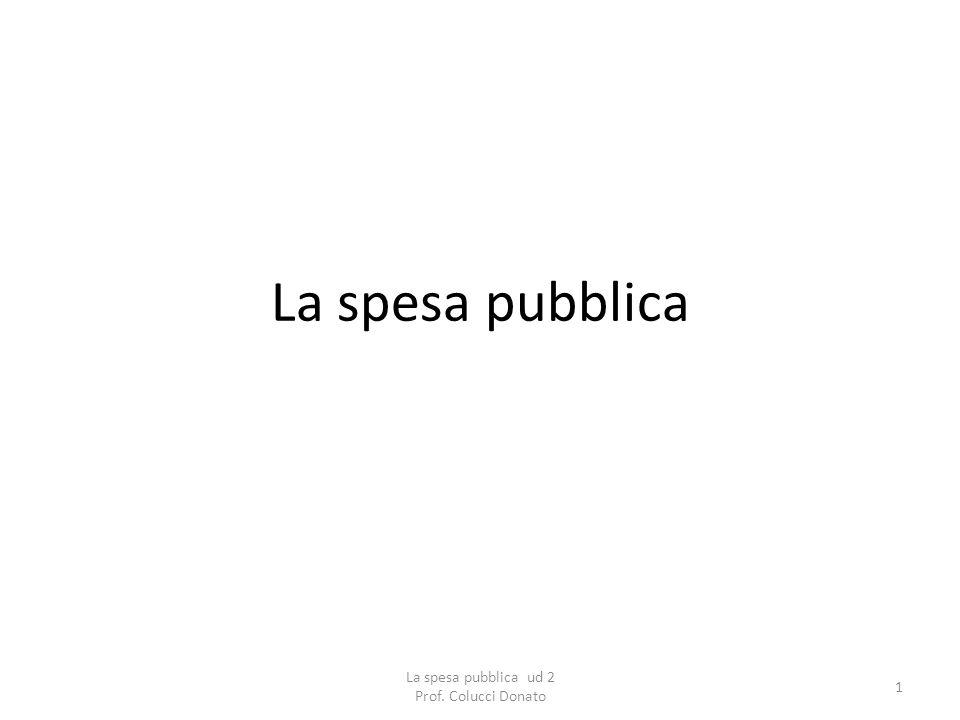La spesa pubblica 1 La spesa pubblica ud 2 Prof. Colucci Donato