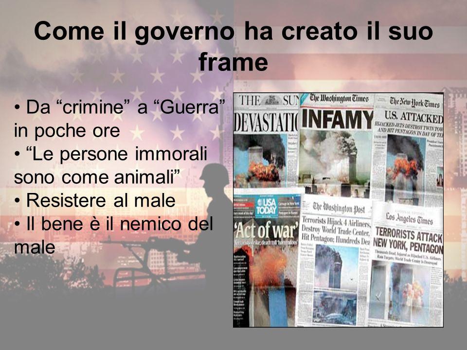 Come il governo ha creato il suo frame Da crimine a Guerra in poche ore Le persone immorali sono come animali Resistere al male Il bene è il nemico del male