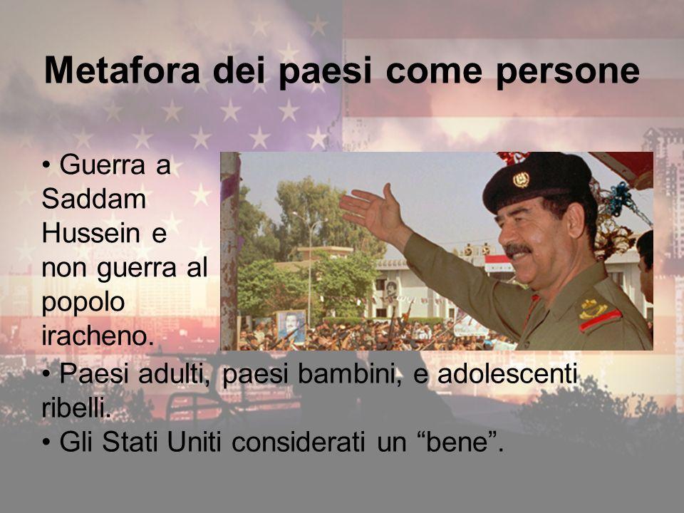 Metafora dei paesi come persone Guerra a Saddam Hussein e non guerra al popolo iracheno.