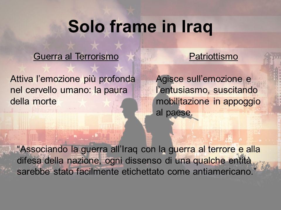 Solo frame in Iraq Patriottismo Agisce sullemozione e lentusiasmo, suscitando mobilitazione in appoggio al paese.