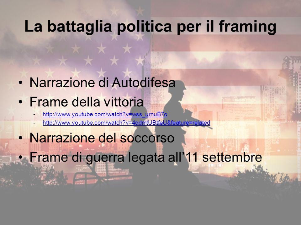 Narrazione di Autodifesa Frame della vittoria -http://www.youtube.com/watch v=wss_urnuB7ohttp://www.youtube.com/watch v=wss_urnuB7o -http://www.youtube.com/watch v=4odmtUBtfeU&feature=relatedhttp://www.youtube.com/watch v=4odmtUBtfeU&feature=related Narrazione del soccorso Frame di guerra legata all11 settembre La battaglia politica per il framing
