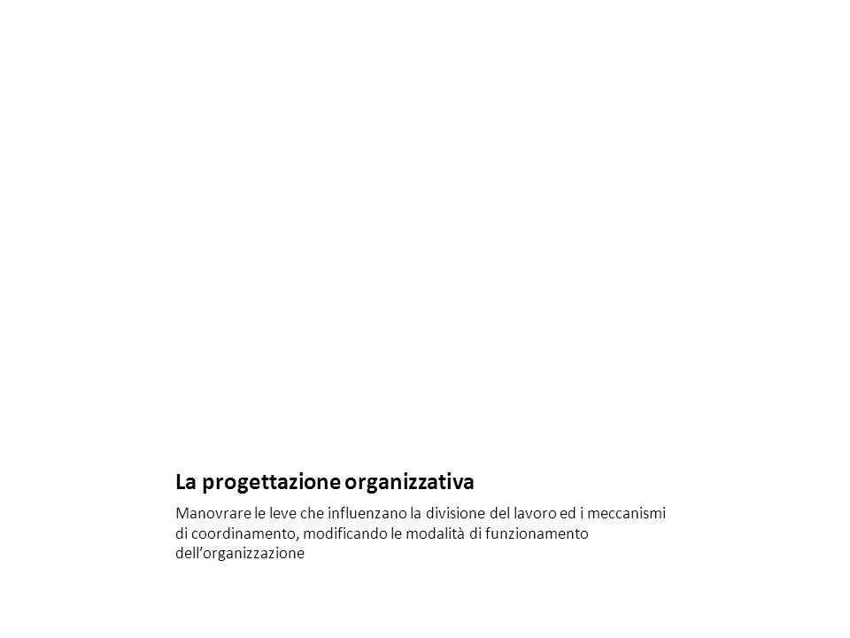 La progettazione organizzativa Manovrare le leve che influenzano la divisione del lavoro ed i meccanismi di coordinamento, modificando le modalità di funzionamento dellorganizzazione