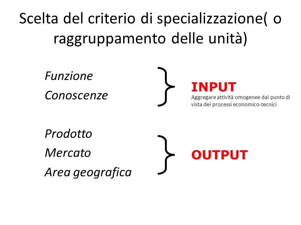 Progettazione organizzativa La specializzazione organizzativa (a livello macro)