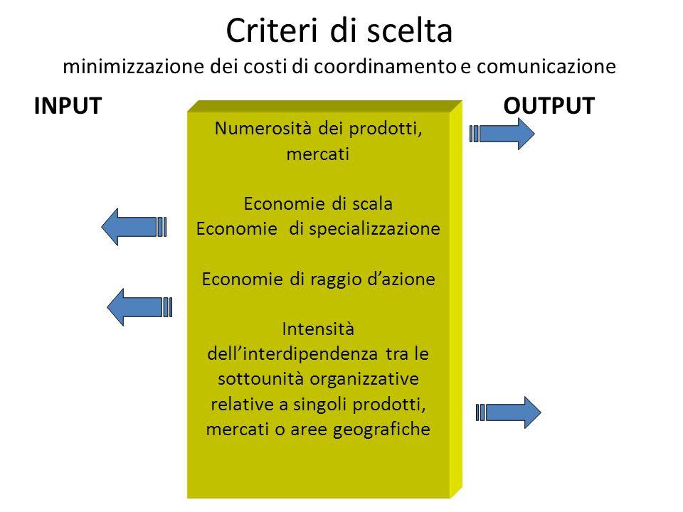 Scelta del criterio di specializzazione( o raggruppamento delle unità) Funzione Conoscenze Prodotto Mercato Area geografica INPUT Aggregare attività o