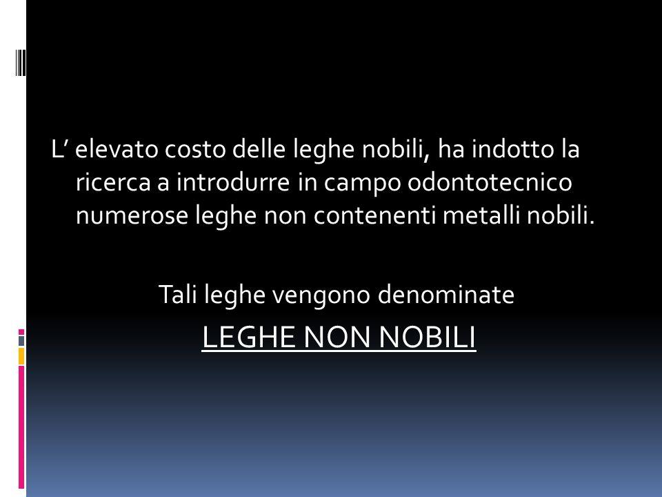 L elevato costo delle leghe nobili, ha indotto la ricerca a introdurre in campo odontotecnico numerose leghe non contenenti metalli nobili. Tali leghe