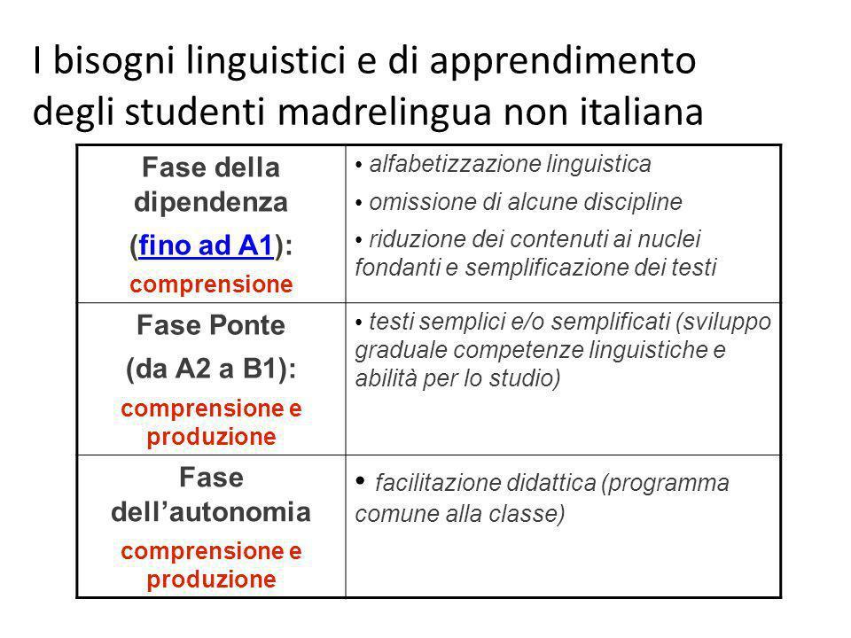 Fase della dipendenza (fino ad A1):fino ad A1 comprensione alfabetizzazione linguistica omissione di alcune discipline riduzione dei contenuti ai nucl