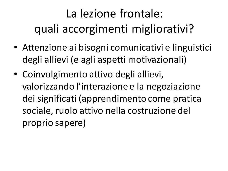 La lezione frontale: quali accorgimenti migliorativi? Attenzione ai bisogni comunicativi e linguistici degli allievi (e agli aspetti motivazionali) Co