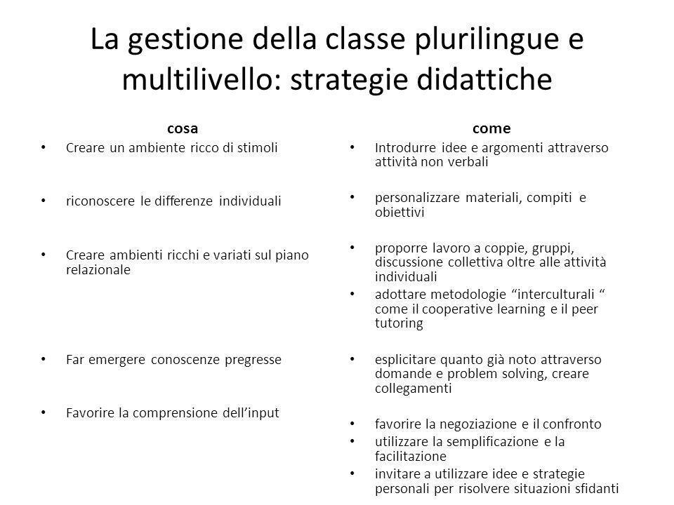 La gestione della classe plurilingue e multilivello: strategie didattiche cosa Creare un ambiente ricco di stimoli riconoscere le differenze individua