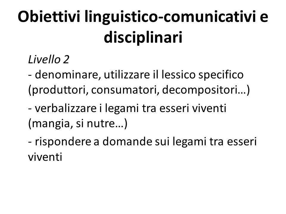 Obiettivi linguistico-comunicativi e disciplinari Livello 2 - denominare, utilizzare il lessico specifico (produttori, consumatori, decompositori…) -