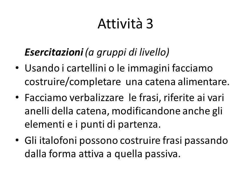 Attività 3 Esercitazioni (a gruppi di livello) Usando i cartellini o le immagini facciamo costruire/completare una catena alimentare. Facciamo verbali