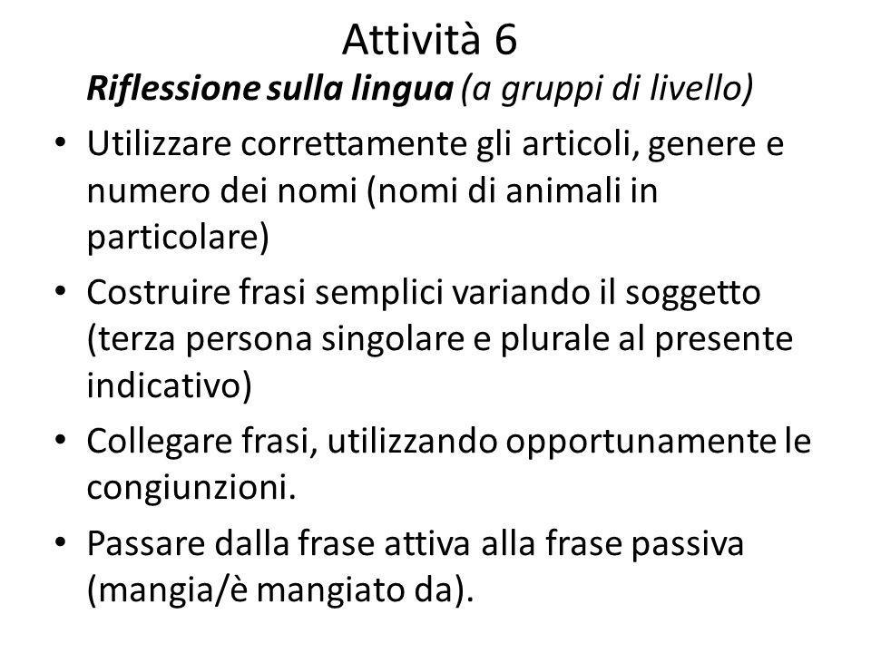 Attività 6 Riflessione sulla lingua (a gruppi di livello) Utilizzare correttamente gli articoli, genere e numero dei nomi (nomi di animali in particol