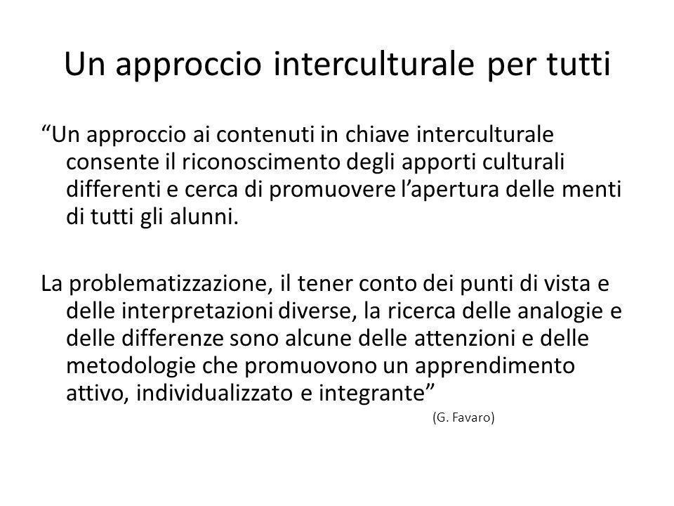 Un approccio interculturale per tutti Un approccio ai contenuti in chiave interculturale consente il riconoscimento degli apporti culturali differenti