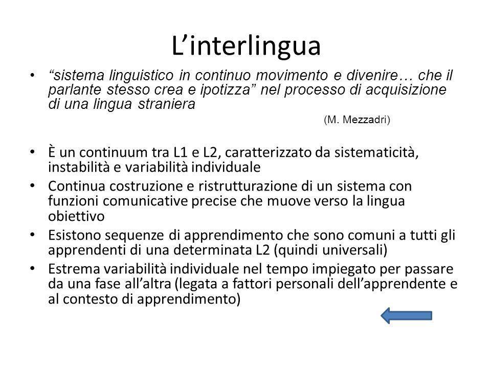 Linterlingua sistema linguistico in continuo movimento e divenire… che il parlante stesso crea e ipotizza nel processo di acquisizione di una lingua s