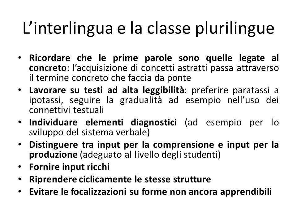 Linterlingua e la classe plurilingue Ricordare che le prime parole sono quelle legate al concreto: lacquisizione di concetti astratti passa attraverso