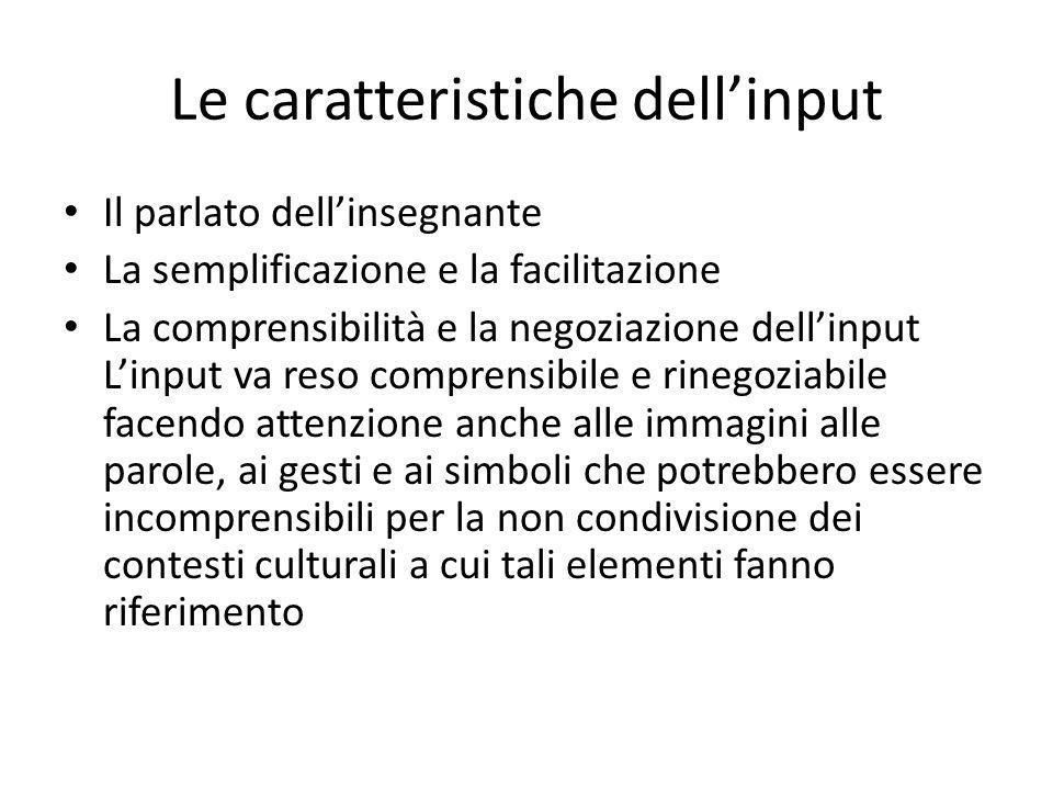 Le caratteristiche dellinput Il parlato dellinsegnante La semplificazione e la facilitazione La comprensibilità e la negoziazione dellinput Linput va