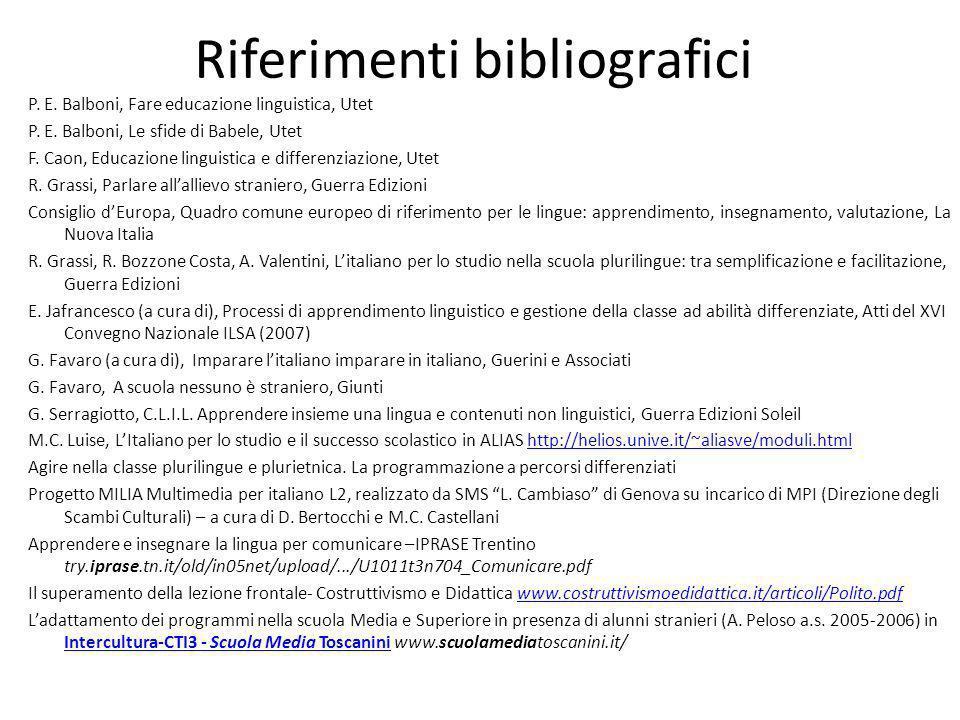 Riferimenti bibliografici P. E. Balboni, Fare educazione linguistica, Utet P. E. Balboni, Le sfide di Babele, Utet F. Caon, Educazione linguistica e d