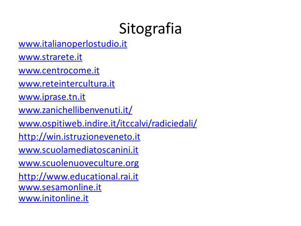 Sitografia www.italianoperlostudio.it www.strarete.it www.centrocome.it www.reteintercultura.it www.iprase.tn.it www.zanichellibenvenuti.it/ www.ospitiweb.indire.it/itccalvi/radiciedali/ http://win.istruzioneveneto.it www.scuolamediatoscanini.it www.scuolenuoveculture.org http://www.educational.rai.it www.sesamonline.it www.initonline.it
