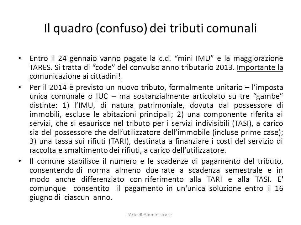 Il quadro (confuso) dei tributi comunali Entro il 24 gennaio vanno pagate la c.d. mini IMU e la maggiorazione TARES. Si tratta di code del convulso an