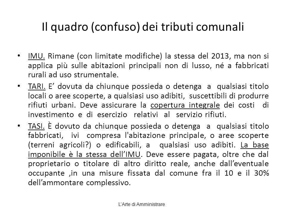 Il quadro (confuso) dei tributi comunali IMU. Rimane (con limitate modifiche) la stessa del 2013, ma non si applica più sulle abitazioni principali no
