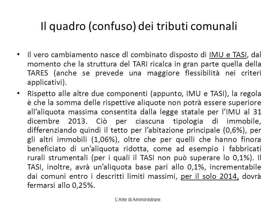 Il quadro (confuso) dei tributi comunali Il vero cambiamento nasce dl combinato disposto di IMU e TASI, dal momento che la struttura del TARI ricalca in gran parte quella della TARES (anche se prevede una maggiore flessibilità nei criteri applicativi).