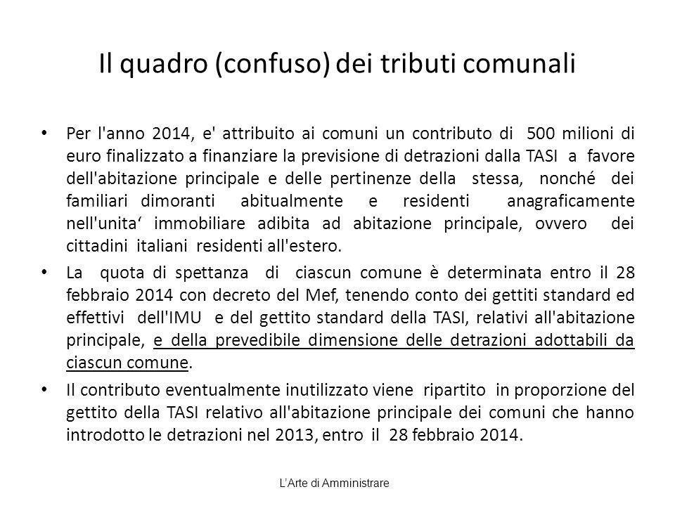 Il quadro (confuso) dei tributi comunali Per l'anno 2014, e' attribuito ai comuni un contributo di 500 milioni di euro finalizzato a finanziare la pre