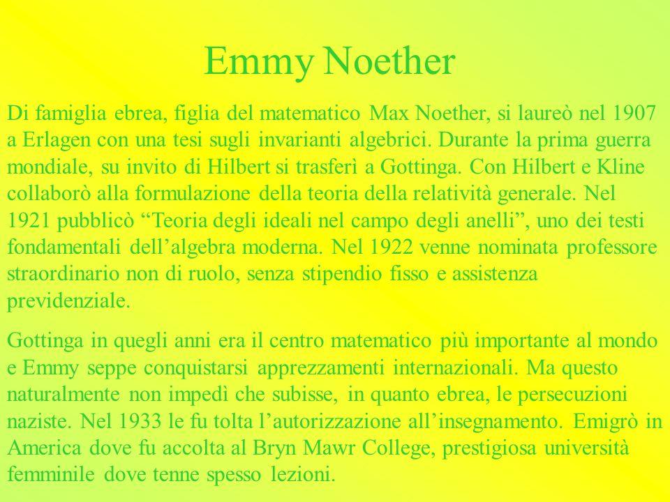 Alcune donne matematiche Emmy NoetherEmmy Noether Sophie GermainSophie Germain Maria Gaetana AgnesiMaria Gaetana Agnesi