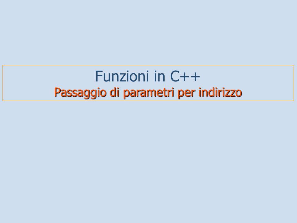 Funzioni in C++ Passaggio di parametri per indirizzo