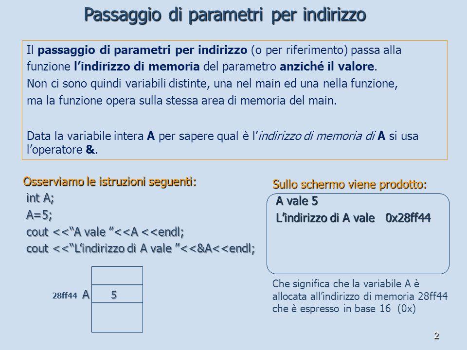 2 Il passaggio di parametri per indirizzo (o per riferimento) passa alla funzione lindirizzo di memoria del parametro anziché il valore.