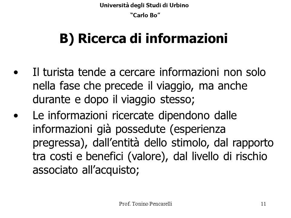 Prof. Tonino Pencarelli11 B) Ricerca di informazioni Il turista tende a cercare informazioni non solo nella fase che precede il viaggio, ma anche dura