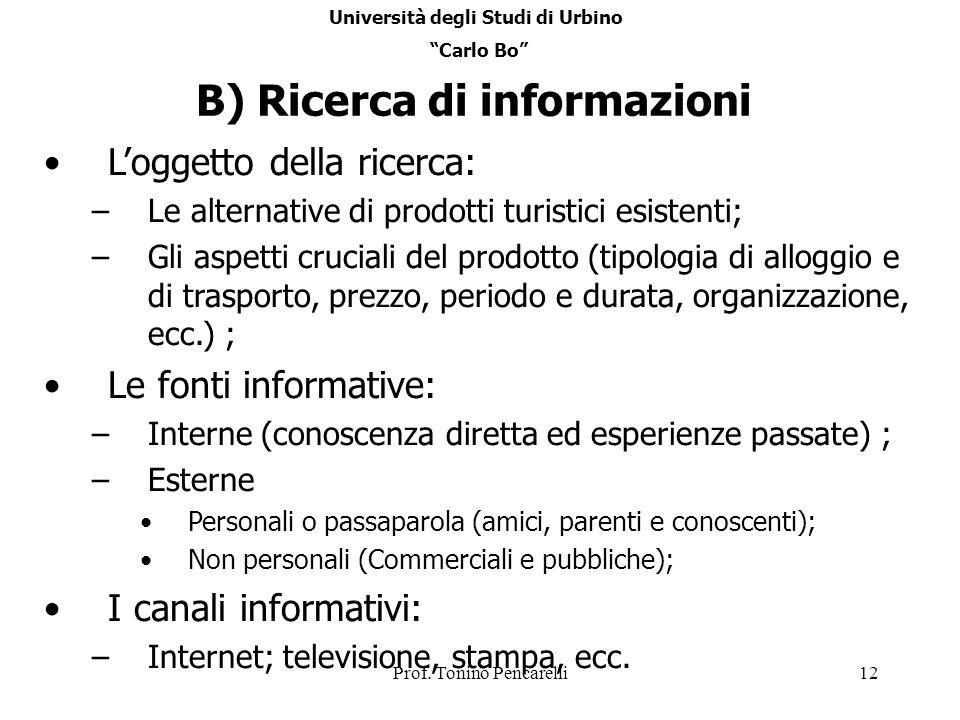 Prof. Tonino Pencarelli12 B) Ricerca di informazioni Loggetto della ricerca: –Le alternative di prodotti turistici esistenti; –Gli aspetti cruciali de