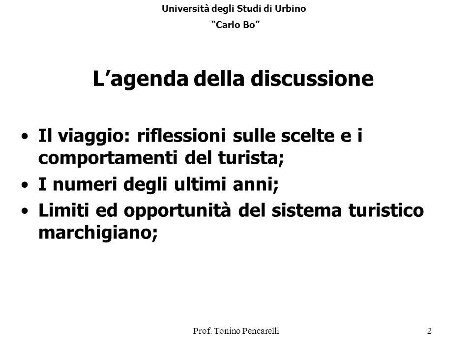 Prof. Tonino Pencarelli2 Lagenda della discussione Il viaggio: riflessioni sulle scelte e i comportamenti del turista; I numeri degli ultimi anni; Lim
