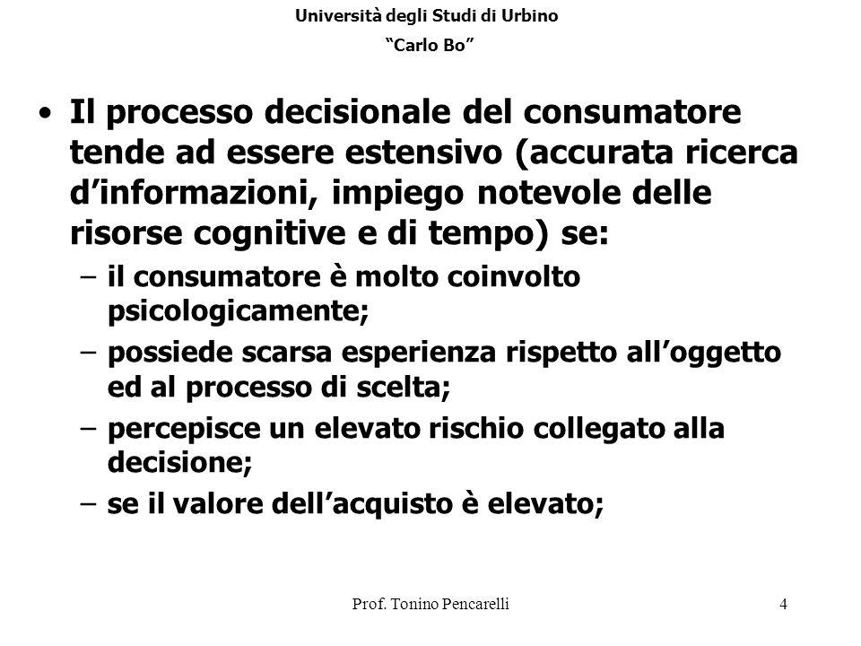 Prof. Tonino Pencarelli4 Il processo decisionale del consumatore tende ad essere estensivo (accurata ricerca dinformazioni, impiego notevole delle ris