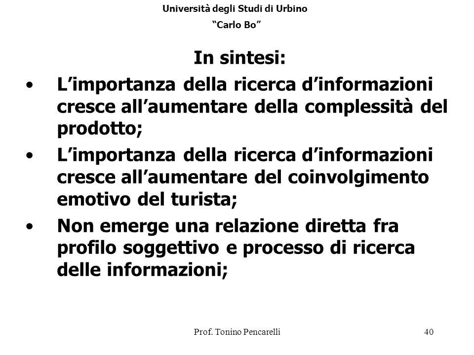 Prof. Tonino Pencarelli40 In sintesi: Limportanza della ricerca dinformazioni cresce allaumentare della complessità del prodotto; Limportanza della ri