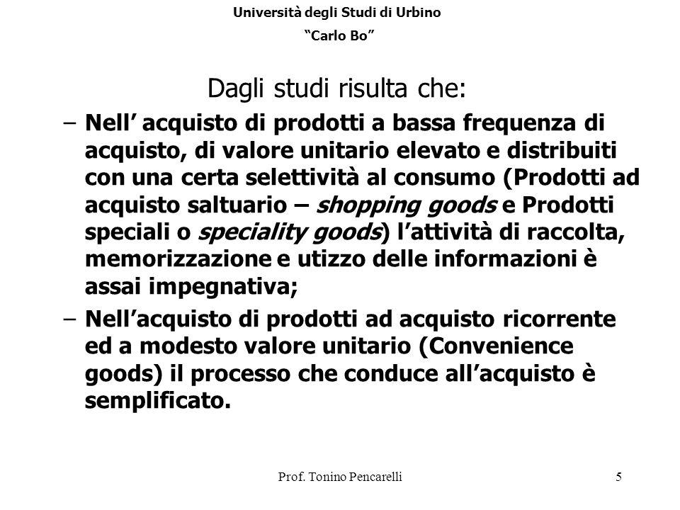 Prof. Tonino Pencarelli5 Dagli studi risulta che: –Nell acquisto di prodotti a bassa frequenza di acquisto, di valore unitario elevato e distribuiti c