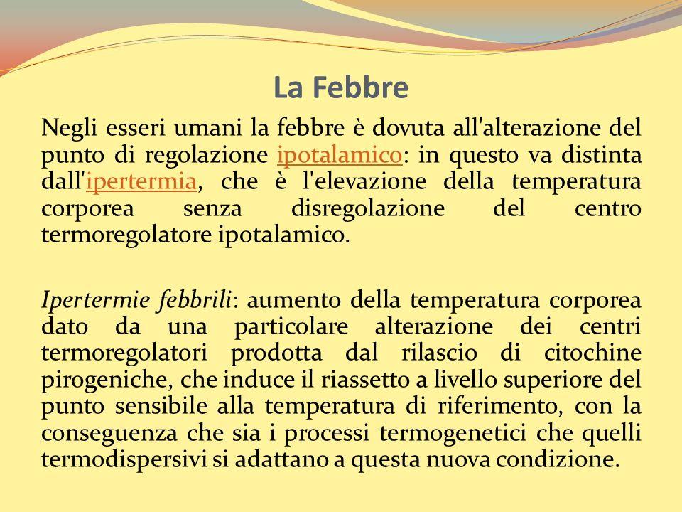 La Febbre Negli esseri umani la febbre è dovuta all'alterazione del punto di regolazione ipotalamico: in questo va distinta dall'ipertermia, che è l'e