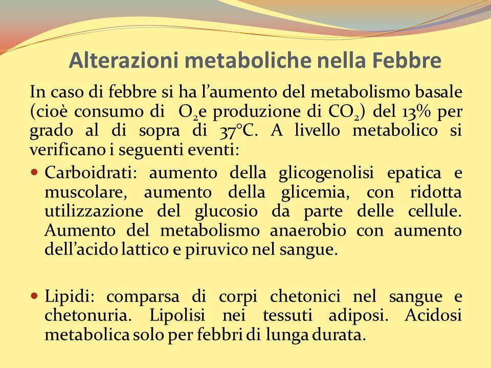 In caso di febbre si ha laumento del metabolismo basale (cioè consumo di O 2 e produzione di CO 2 ) del 13% per grado al di sopra di 37°C. A livello m