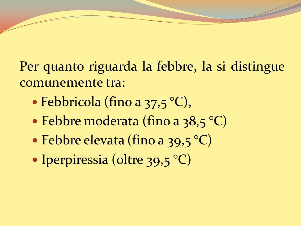 Per quanto riguarda la febbre, la si distingue comunemente tra: Febbricola (fino a 37,5 °C), Febbre moderata (fino a 38,5 °C) Febbre elevata (fino a 39,5 °C) Iperpiressia (oltre 39,5 °C)