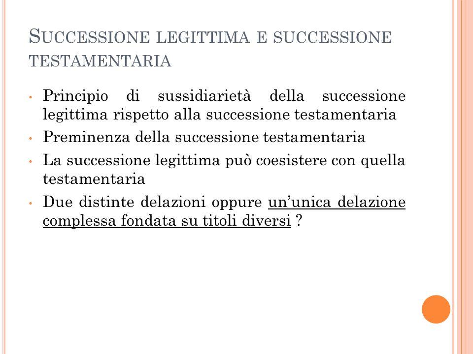 S UCCESSIONE LEGITTIMA E SUCCESSIONE TESTAMENTARIA Principio di sussidiarietà della successione legittima rispetto alla successione testamentaria Prem