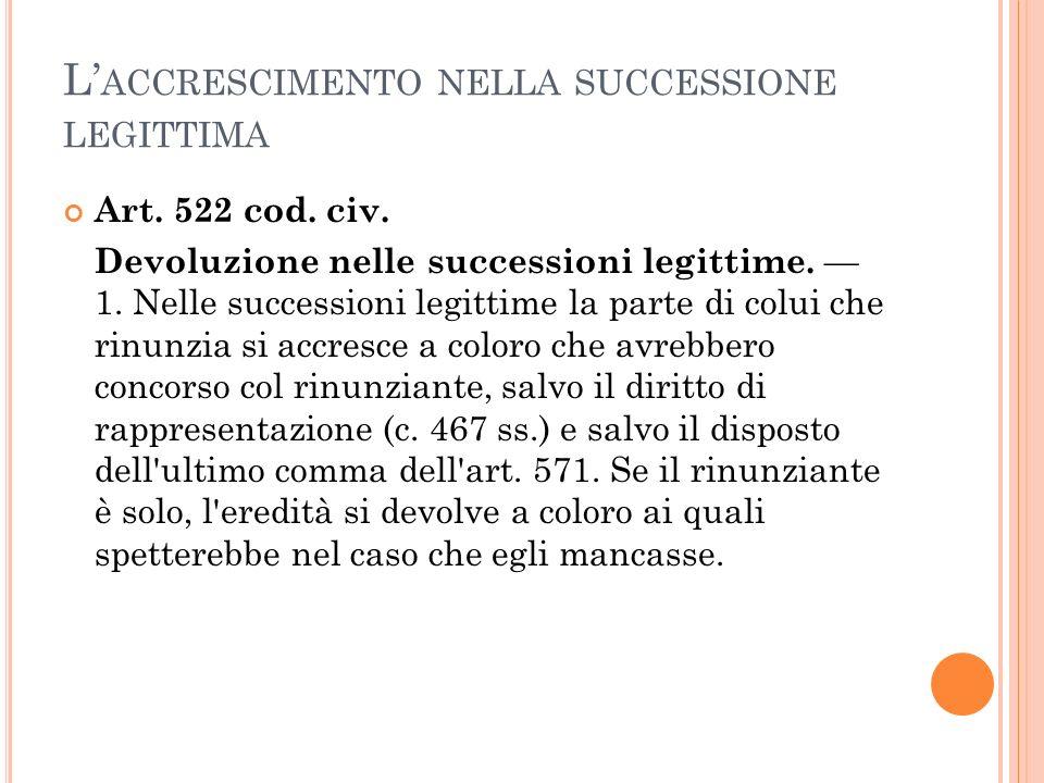L ACCRESCIMENTO NELLA SUCCESSIONE LEGITTIMA Art. 522 cod. civ. Devoluzione nelle successioni legittime. 1. Nelle successioni legittime la parte di col