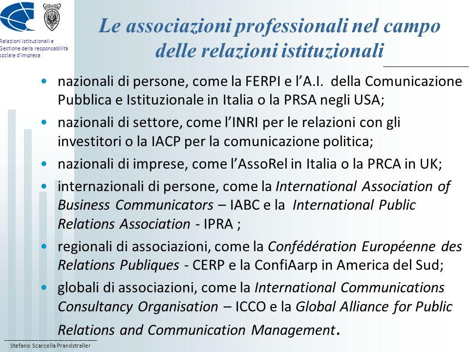 ____________________________ Stefano Scarcella Prandstraller Relazioni istituzionali e Gestione della responsabilità sociale dimpresa Le associazioni professionali nel campo delle relazioni istituzionali nazionali di persone, come la FERPI e lA.I.