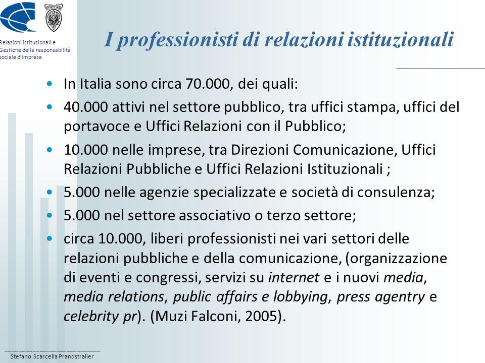 ____________________________ Stefano Scarcella Prandstraller Relazioni istituzionali e Gestione della responsabilità sociale dimpresa La ricerca AssoRel 2007 sulla formazione AssoRel nel 2007 ha svolto unindagine: A) sulla provenienza formativa dei professionisti delle PR; B) sullofferta formativa in PR.