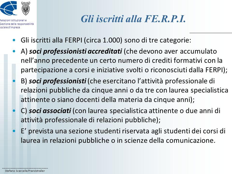 ____________________________ Stefano Scarcella Prandstraller Relazioni istituzionali e Gestione della responsabilità sociale dimpresa Gli iscritti alla FE.R.P.I.