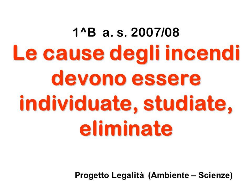 1^B a. s. 2007/08 Le cause degli incendi devono essere individuate, studiate, eliminate Progetto Legalità (Ambiente – Scienze)