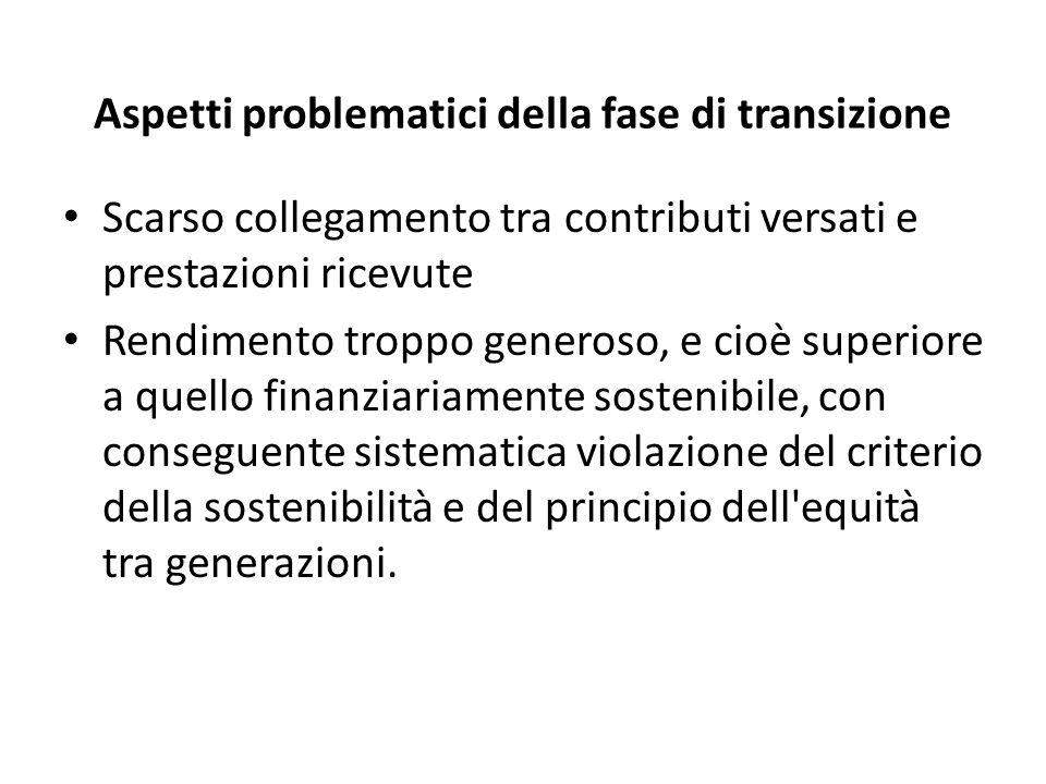 Ferrera, Le politiche sociali, Il Mulino, 2012 Capitolo II. La politica pensionistica Aspetti problematici della fase di transizione Scarso collegamen