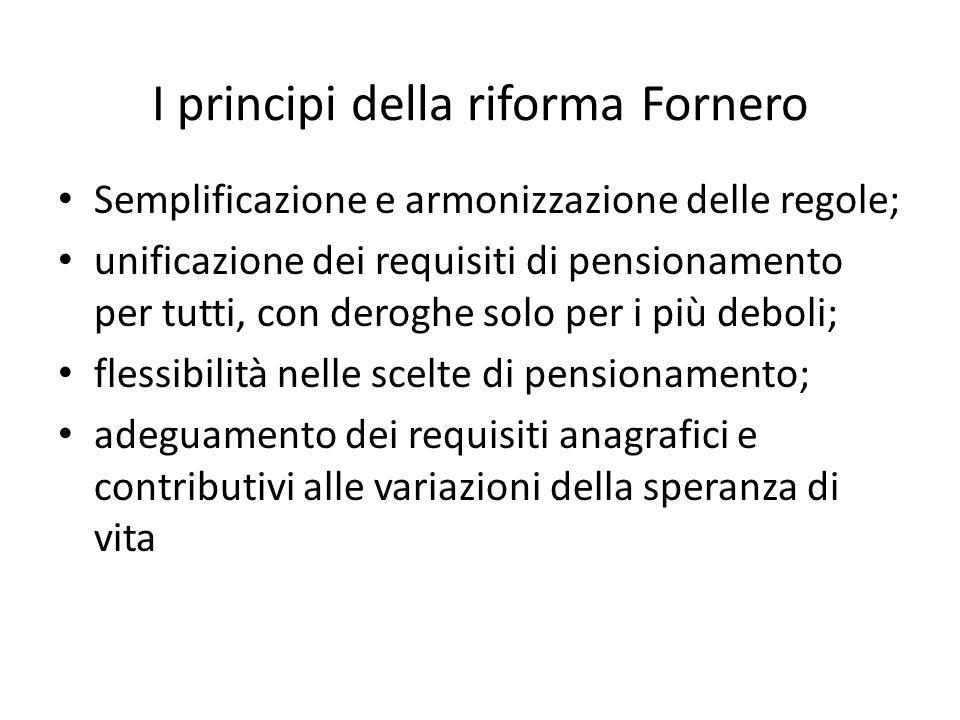 Ferrera, Le politiche sociali, Il Mulino, 2012 Capitolo II. La politica pensionistica I principi della riforma Fornero Semplificazione e armonizzazion